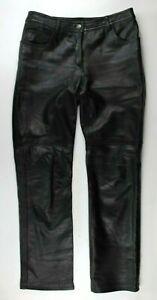 Rampage-Women-s-100-Leather-Pants-Motorcycle-Biker-Straight-Leg-Black-9