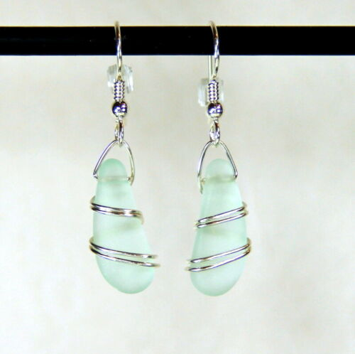 Hypoallergenic Ear Wires Details about  /Wire Wrapped Sterling Silver Earrings AQUA