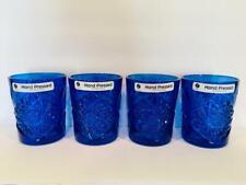 Set of 4 Libbey Glass Portugal Blue Hobstar 11.75oz Rocks Glasses