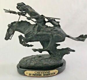 Frederic-Remington-Bronze-Statue-Cheyenne-Signed-7-3-8-034-H-x-8-5-034-L-Base-Vintage
