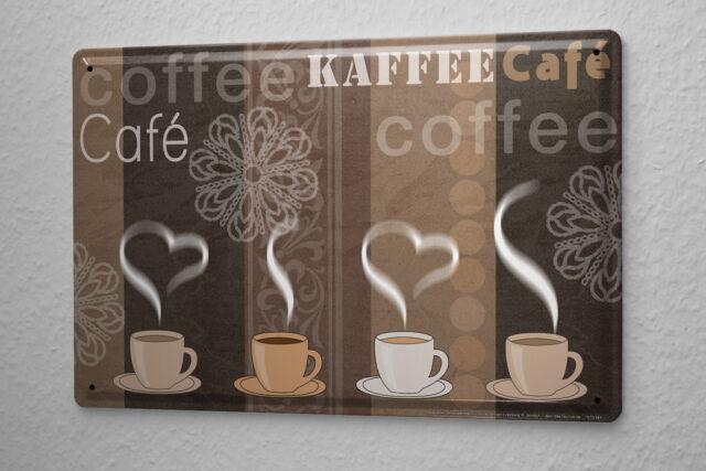 Blechschild Fun Küchen Deko Kaffe Tassen Metallschild 20x30 cm