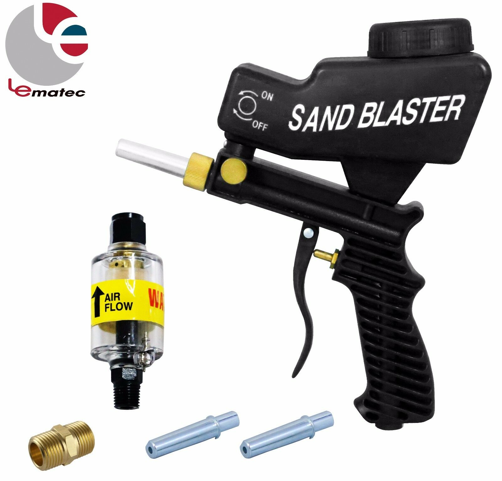 LEMATEC 1 4  Sandblaster Gun With Air Filter Water Oil Separator Nozzle Air Tool