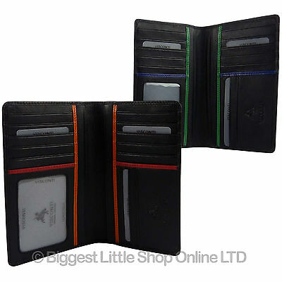 NEW MENS LEATHER Slim Suit WALLET by VISCONTI; Bond Collection Gift Box Stylish