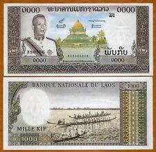 Lao / Laos, Kingdom, 1000 Kip, ND (1963), P-14 (14b) aUNC > King, Temple, Canoes