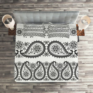 Home & Garden Paisley Quilted Coverlet & Pillow Shams Set Winter Theme Flowers Print