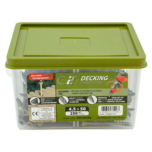 TIMco 250pc C2 Cutter Decking Screws 4.5mm x 50mm Landscaping Timber Wood