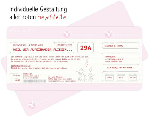 Invitation to marriage a Flight Ticket Invitation Card Ticket with perforation