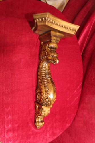 "21/"" Large Wooden wall shelf//Corbel//bracket Dragon Carved from alder wood."