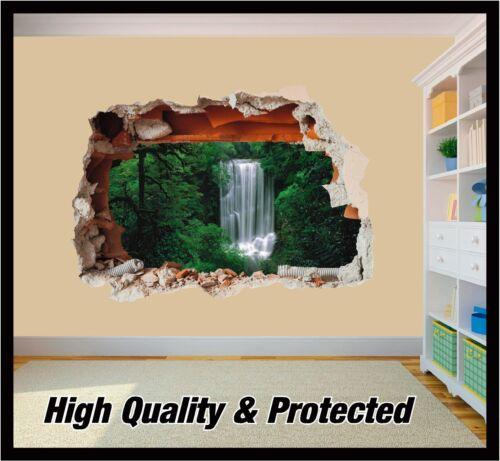 Cascade 01 trous en mur-naturel Murale 3D Imprimé Vinyle Autocollant Décalque Décor