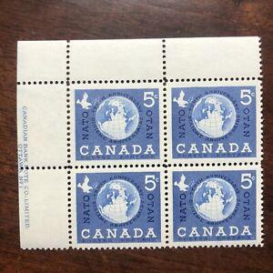 Canada-Stamps-384-Plate-Block-PB-Upper-Left-UL-NATO-Globe-MNH
