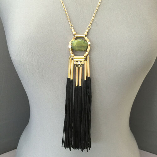 Gold Chain Green Stone Bead Pendent Metal Tubes Black Tassel Necklace
