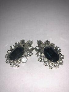 Vintage Blue Silver Cluster clip earrings