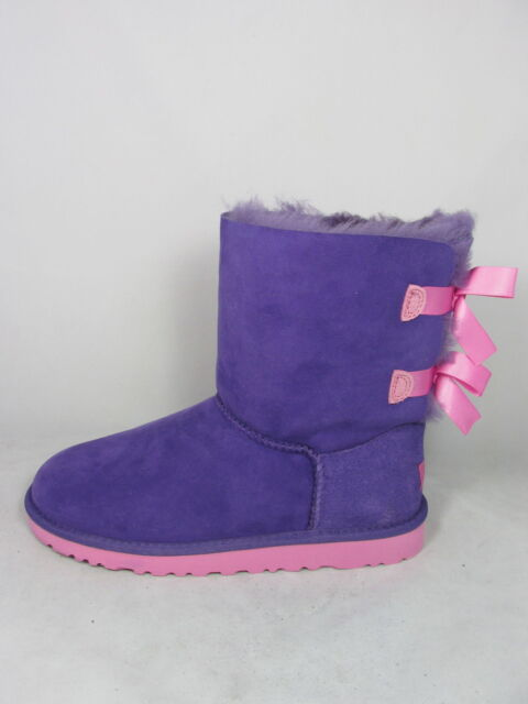 75769cc87e5 UGG Bailey Bow Kids Girls 4 PRLG Purple Pink Sheepskin BOOTS Shoes 3280K