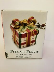Fitz-amp-Floyd-PLAID-CHRISTMAS-LIDDED-BOX-Candy-Trinket-Holly-Red-Green-Gold-White