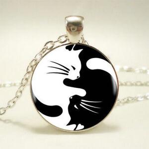Fashion-Yin-Yang-Cat-Pendant-Choker-Statement-Silver-Necklace-For-Women-Jewelry
