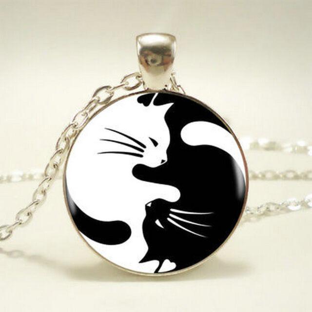 Fashion Yin Yang Cat Pendant Choker Statement Silver Necklace For Women Jewelry
