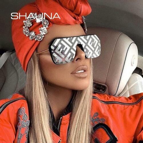 Shauna Oversize ONE PIECES SQUARE Lunettes De Soleil Femmes Lettre Miroir Revêtement Fashion