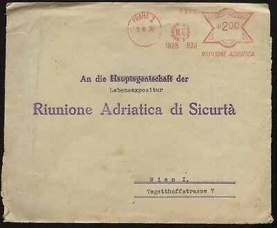 Tschechien & Tschechoslowakei Gastfreundlich Tschechoslovakei 1938 Praha Freistempel Riunione Adriatica 1838-1938