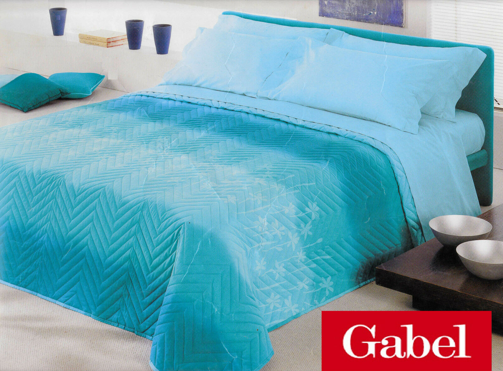 Quilted bedspread - Quilt. GABEL SOFT - Single half. Green. Double-face