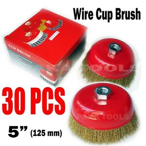 "2PC  4/"" x 5//8/"" Arbor FINE Crimped Wire Cup Wheel Brush For Angle Grinders"