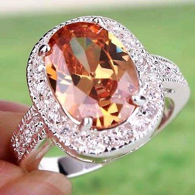 Luxury Party Morganite & White Topaz Gemstones Silver Ring Size 6 7 8 9 10 11
