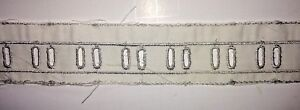 Vintage-Lace-Embroider-Trim-Insert-1-5-034-W-Straight-Edge-White-Gray-Thread