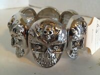 Halloween Double Skull Silver Color & Crystal Eyes Stretch Bracelet
