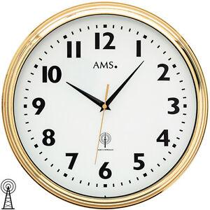 AMS-5963-Wanduhr-Funk-Funkwanduhr-analog-messing-farben-golden-rund-mit-Glas