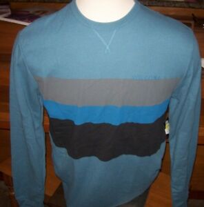 NEW-Volcom-blue-black-stripe-thermal-long-sleeve-warm-t-shirt-Medium-Large-or-XL