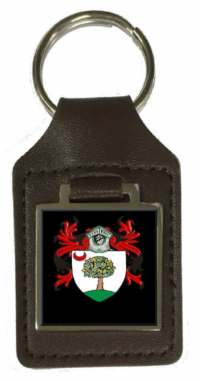Holz Familie Crest Familienname Mantel Von Arme Braunes Leder Keyring Graviert