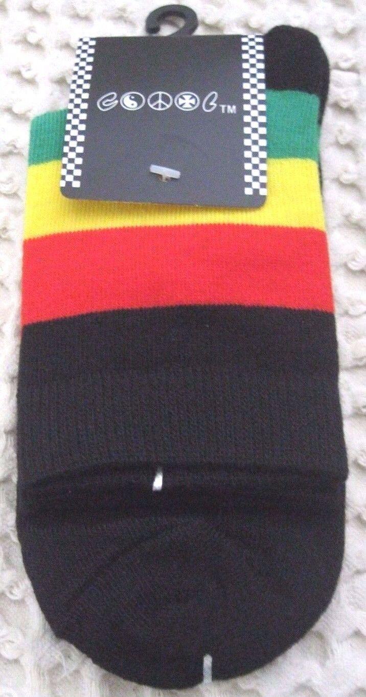 Men's Pair of Low Cut Rasta (Black,Red,Yellow,Green) Socks,Size 10-13-New!