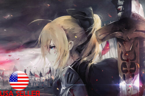 "Fate Stay Night Saber Anime 36/"" x 24/"" Large Wall Poster Art Print Decor Gift #1"