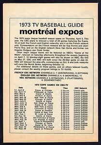 Tv Guide Montreal >> Details About 1973 Montreal Expos Tv Guide Baseball Schedule Cbc Television Guy Ferron