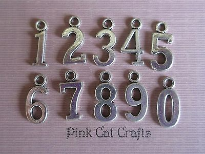 Set of 10 x Tibetan Silver NUMBERS 0-9 Charms Pendants Beads