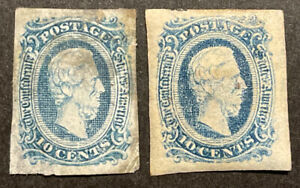 TDStamps: US Confederate States CSA Stamp Scott#11 (2) Mint 1HR OG 1NG 1 Thin