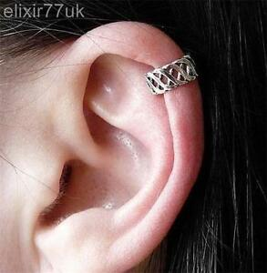 Image Is Loading Silver Criss Cross Ear Cuff Upper Helix Cartilage