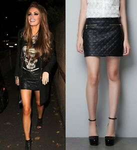Celebrity! ZARA Black Quilted Leather Mini Short Skirt With Zip UK ...