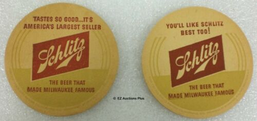 2 SCHLITZ BEER COASTERS You'll Like Schlitz Best Too! Brewery Beer Pub Tavern