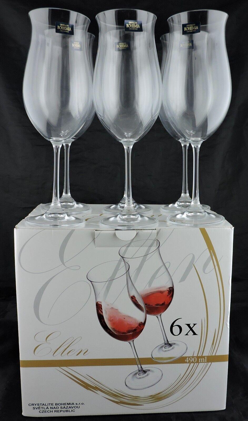RED WINE GLASSES BOHEMIA ELLEN PATTERN SET 6 NIB STEMWARE BARWARE 9 1 2  TALL