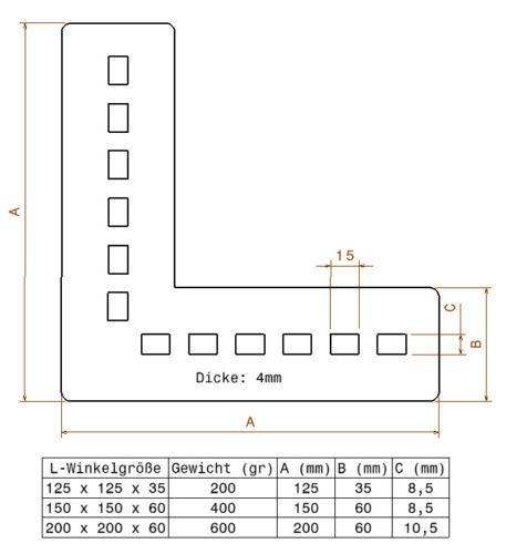 4 mm 90 Grad Balkenverbinder Flachwinkel Lochplatte Eckwinkel Holzverbinder