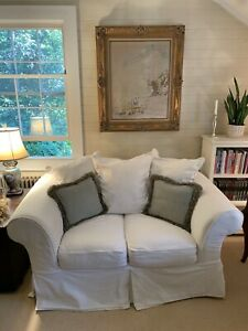 Wondrous Details About Mitchell Gold White Twill Slipcover Sofa Loveseat 67 Shabby Chic Beach Style Gamerscity Chair Design For Home Gamerscityorg