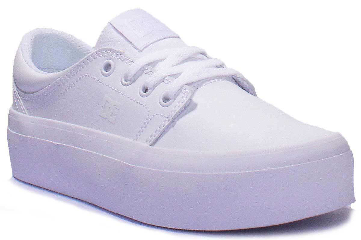 DC Shoes Trase Platform Women Leather Matt White Trainers Size UK 3 - 8