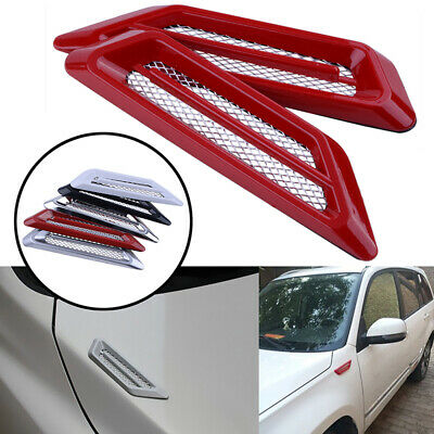 Silver 2Pcs Universal Auto Car Air Intake Flow Vent Fender Decorative Stickers Side Mesh Cover Hood Bonnet ABS Car-styling
