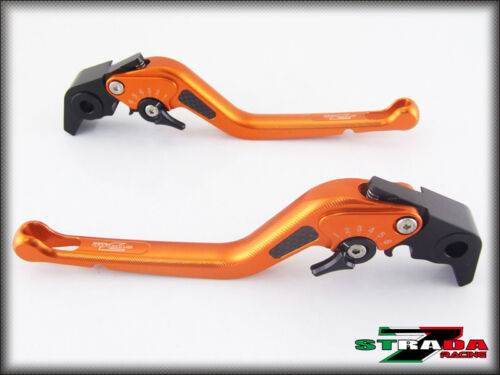 BMW F800R 2009 2016 Strada 7 Adjustable Long Carbon Fiber Inlay Levers Orange