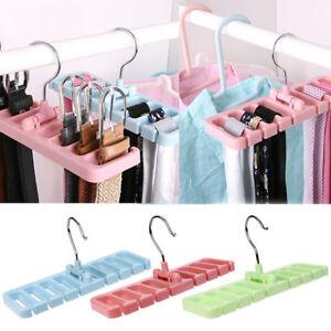 Hook Organizer Holder Rack Storage Hanger Wardrobe Belt Tie Scarf Hanger Rack