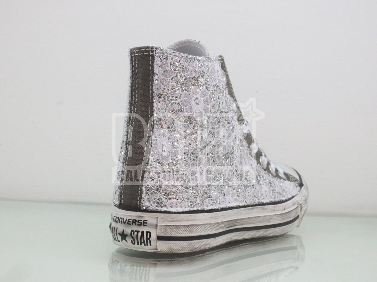 Converse all star glitter gris charcoal  pizzo + glitter star plata  artigianali 69ec8a