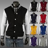 NEW Men Varsity Letterman S Baseball Jacket Coat Hoodies Sweater M-3XL 8Colors