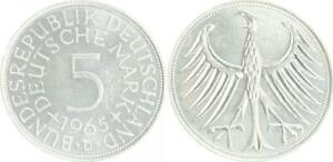 Germany 5 DM J.387 Silver Currency Coin 1965 D Almost Bu