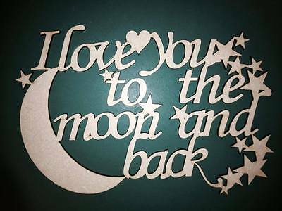 "Wooden MDF Laser Cut Shape ""I love you..."""