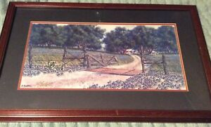 Vintage George Boutwell Texas Art Signed Original Framed Print Springtime Blues Ebay